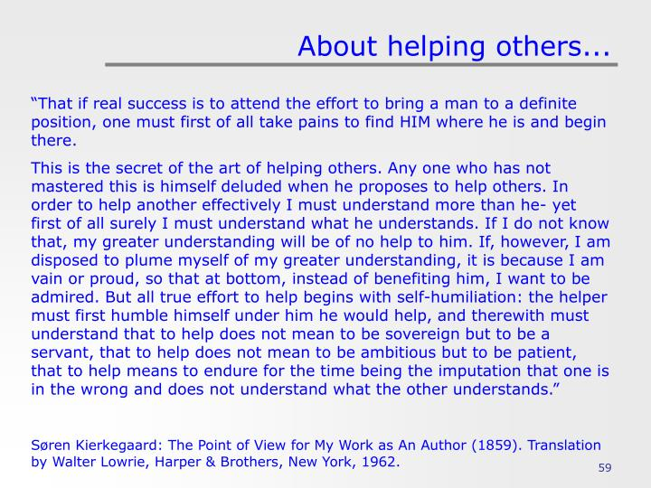 About helping others...