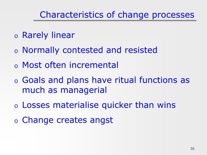 Characteristics of change processes