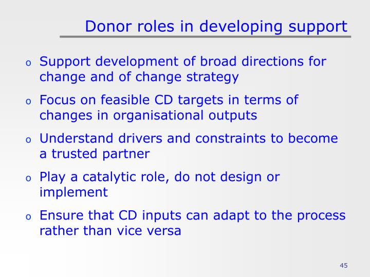 Donor roles in developing support