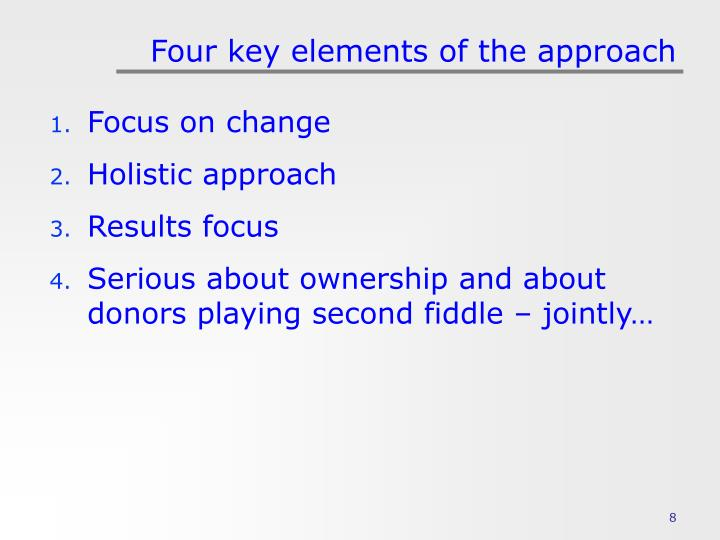 Four key elements of the approach