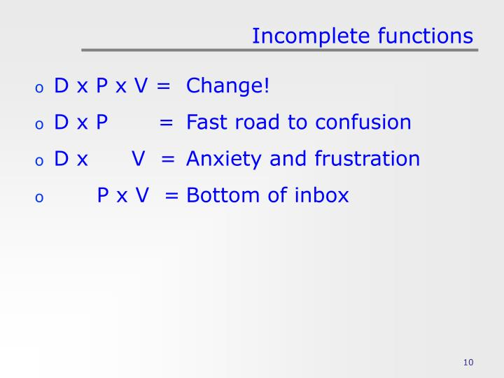 Incomplete functions