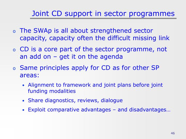 Joint CD support in sector programmes