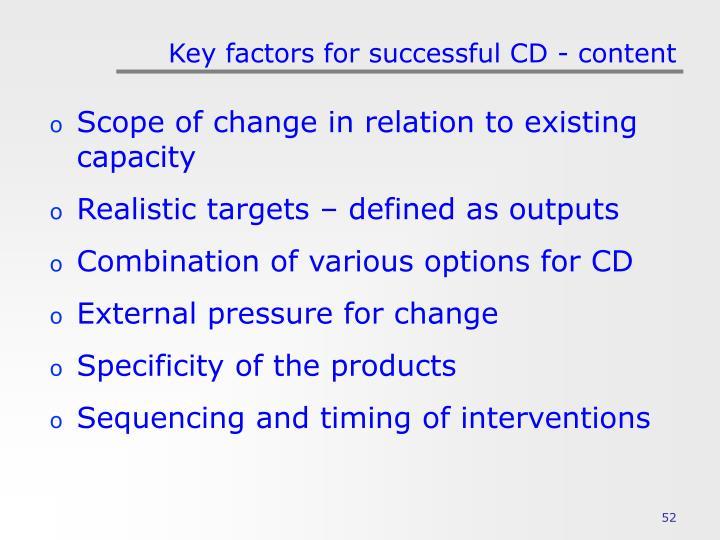 Key factors for successful CD - content