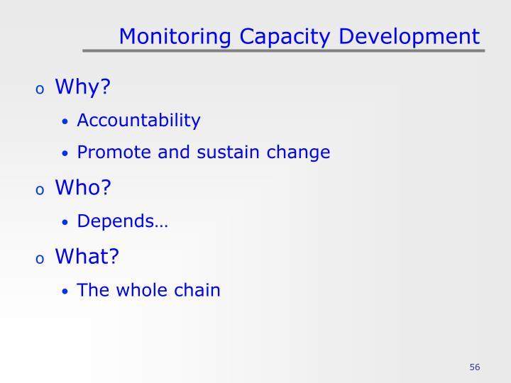 Monitoring Capacity Development
