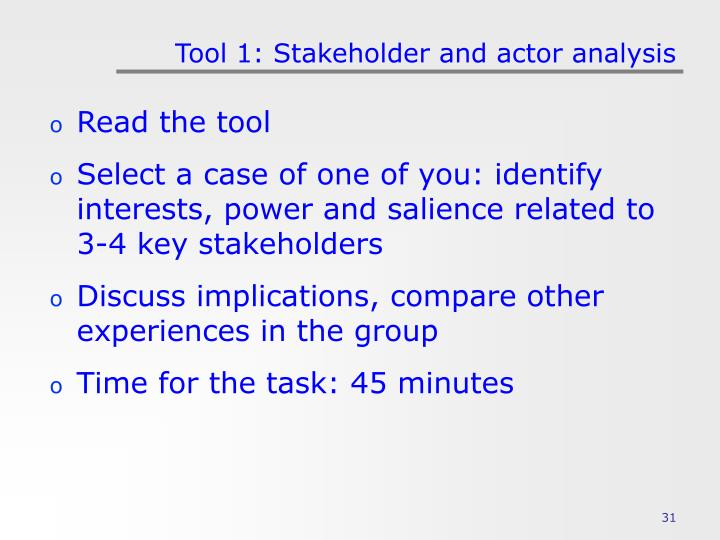 Tool 1: Stakeholder and actor analysis