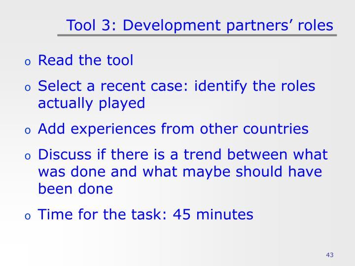 Tool 3: Development partners' roles