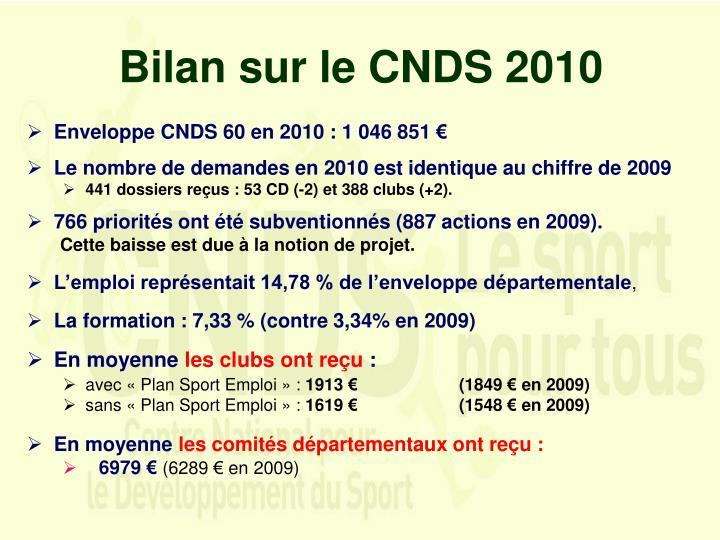 Bilan sur le CNDS 2010