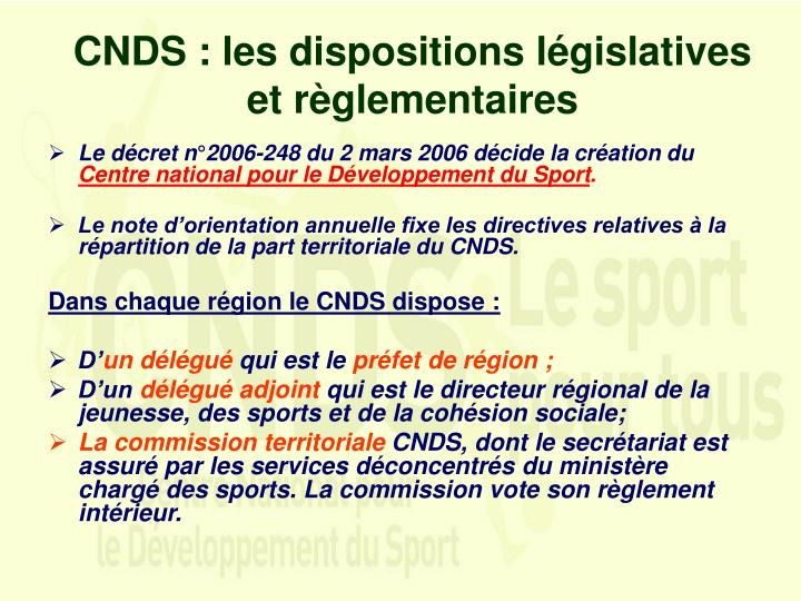 CNDS : les dispositions législatives