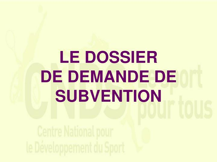 LE DOSSIER