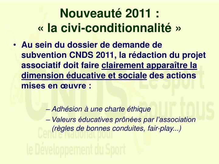 Nouveauté 2011 :