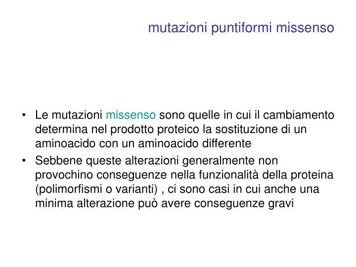 mutazioni puntiformi missenso