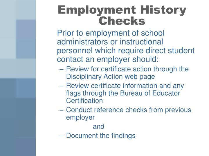 Employment History Checks