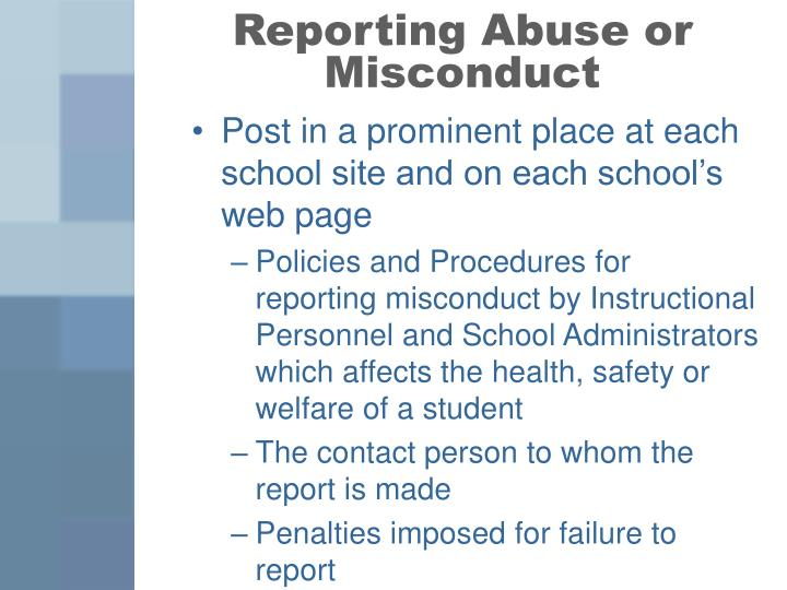 Reporting Abuse or Misconduct