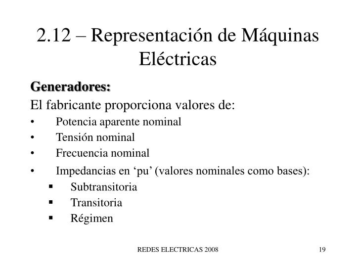 2.12 – Representación de Máquinas Eléctricas