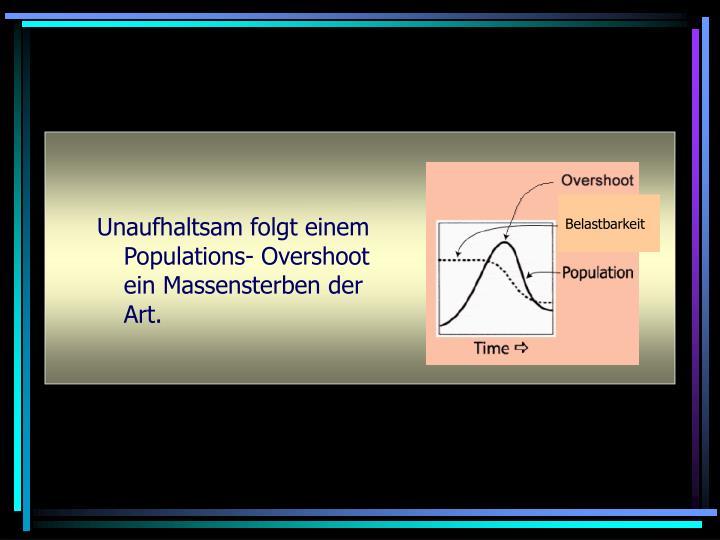 Unaufhaltsam folgt einem Populations- Overshoot ein Massensterben der Art.