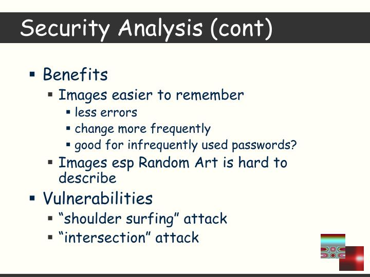 Security Analysis (cont)