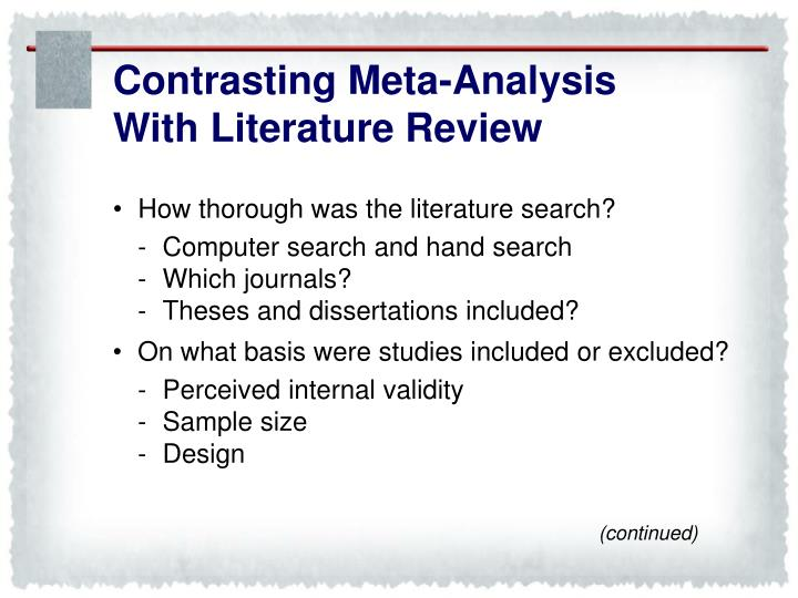 Contrasting Meta-Analysis
