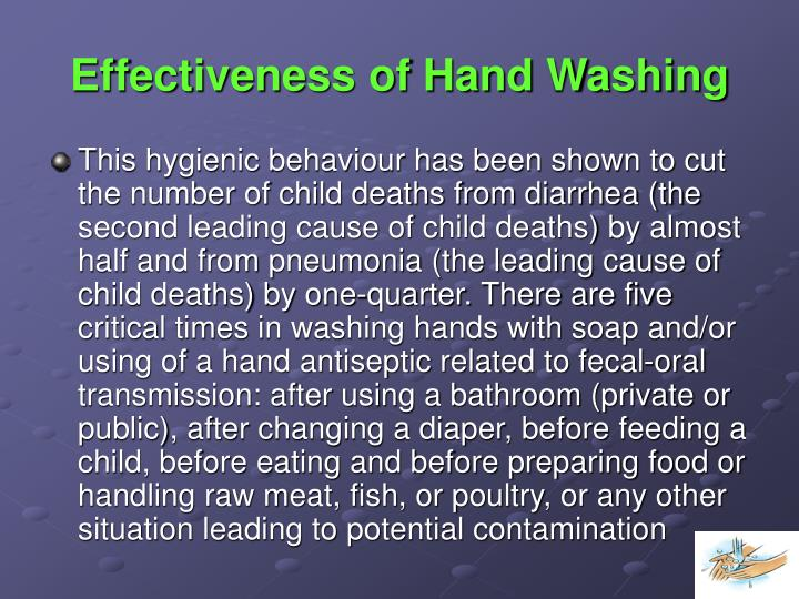 Effectiveness of Hand Washing