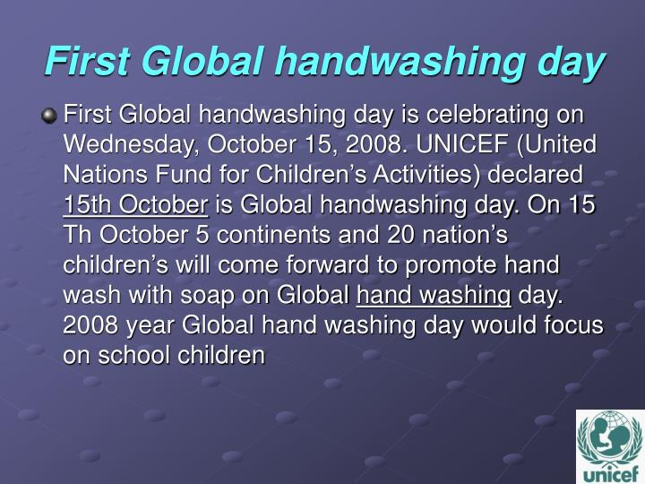 First global handwashing day