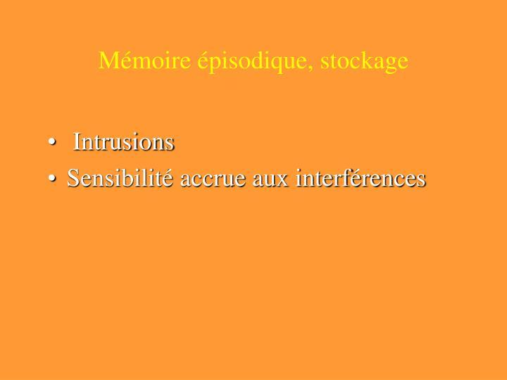 Mémoire épisodique, stockage