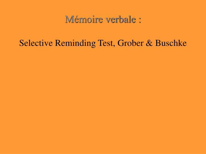 Mémoire verbale :