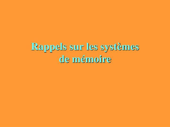 Rappels sur les systèmes