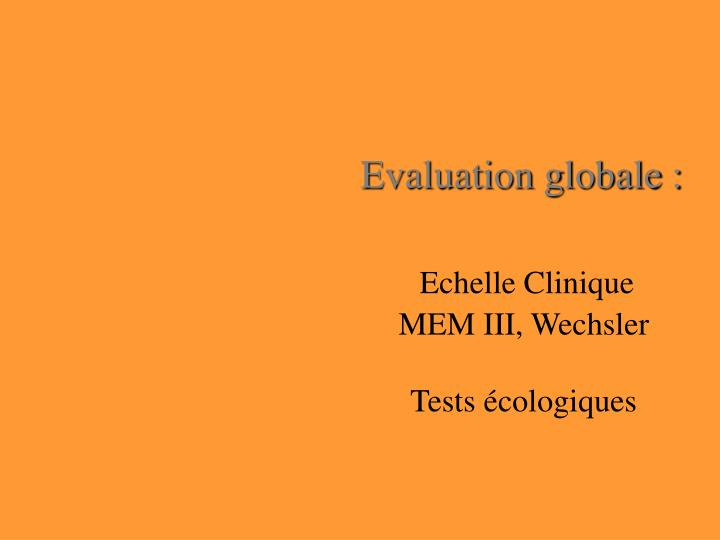 Evaluation globale :