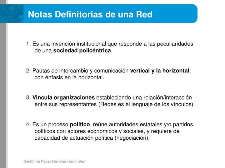 Notas Definitorias de una Red