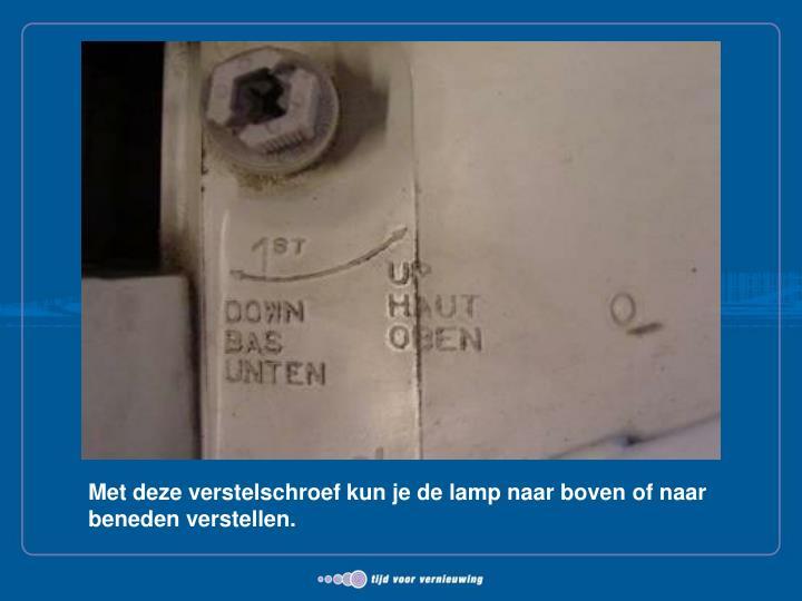 Met deze verstelschroef kun je de lamp naar boven of naar beneden verstellen.