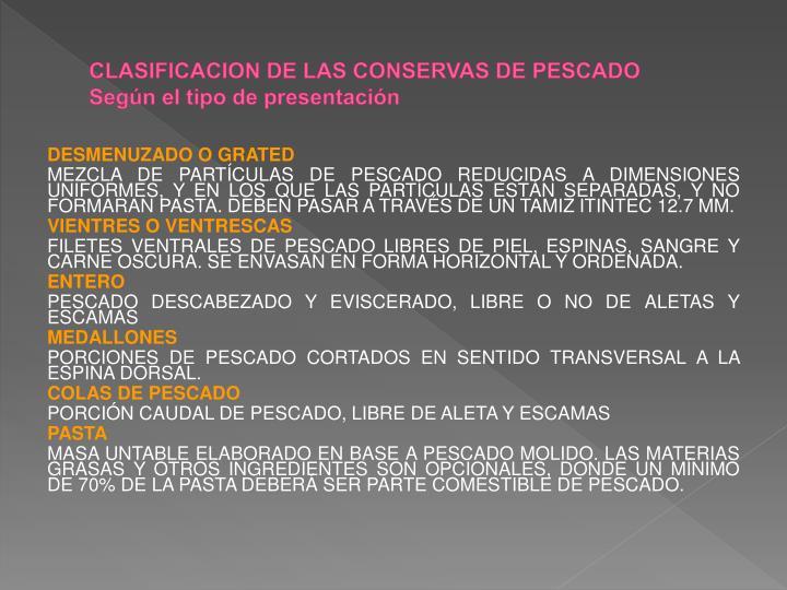 CLASIFICACION DE LAS CONSERVAS DE PESCADO