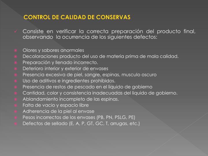 CONTROL DE CALIDAD DE CONSERVAS