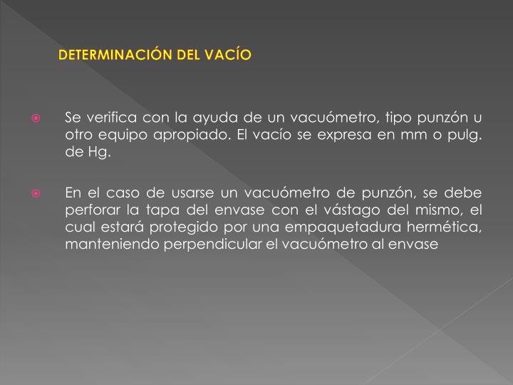 DETERMINACIÓN DEL VACÍO