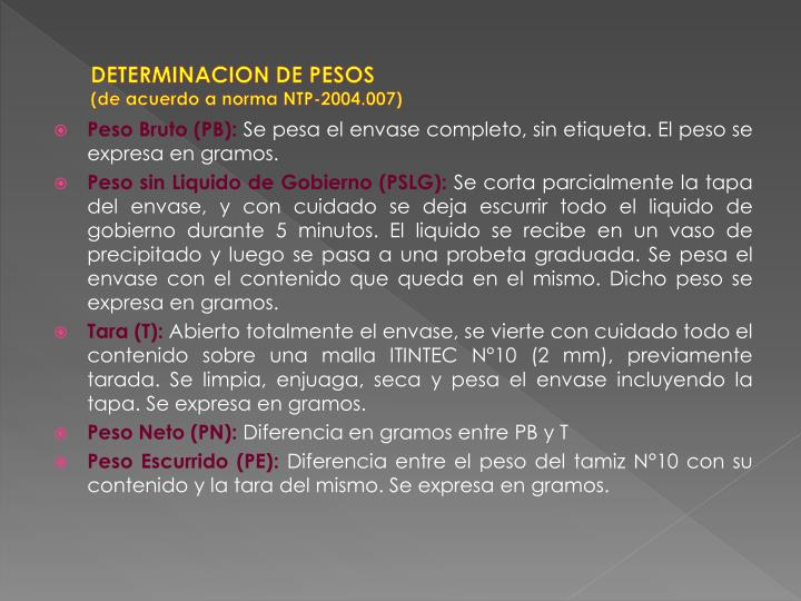 DETERMINACION DE PESOS