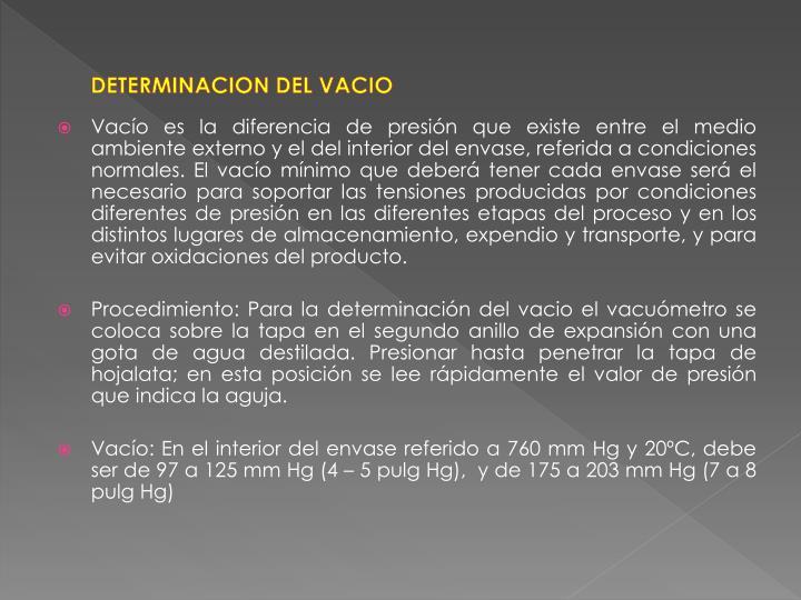 DETERMINACION DEL VACIO