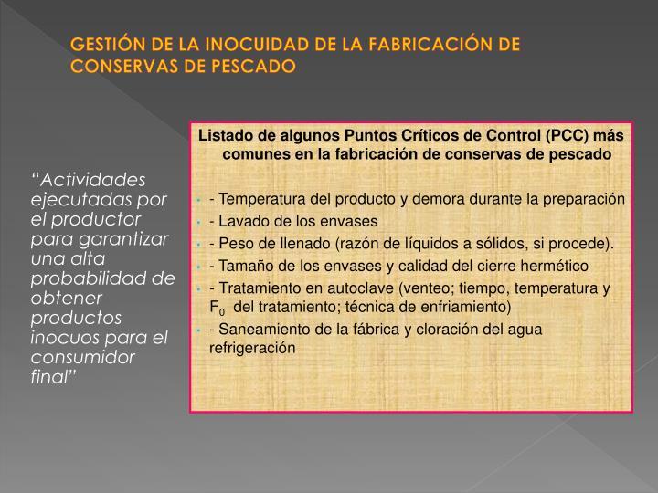 GESTIÓN DE LA INOCUIDAD DE LA FABRICACIÓN DE CONSERVAS DE PESCADO