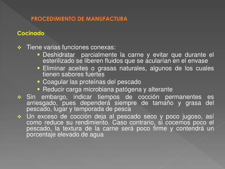 PROCEDIMIENTO DE MANUFACTURA
