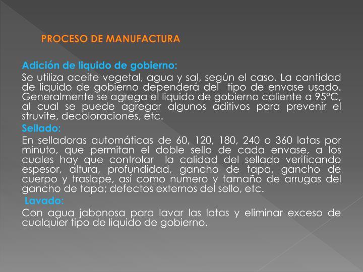 PROCESO DE MANUFACTURA