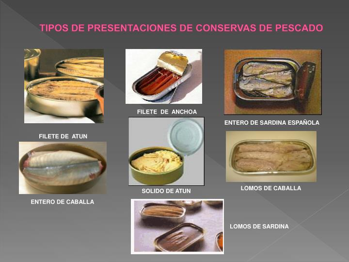 TIPOS DE PRESENTACIONES DE CONSERVAS DE PESCADO