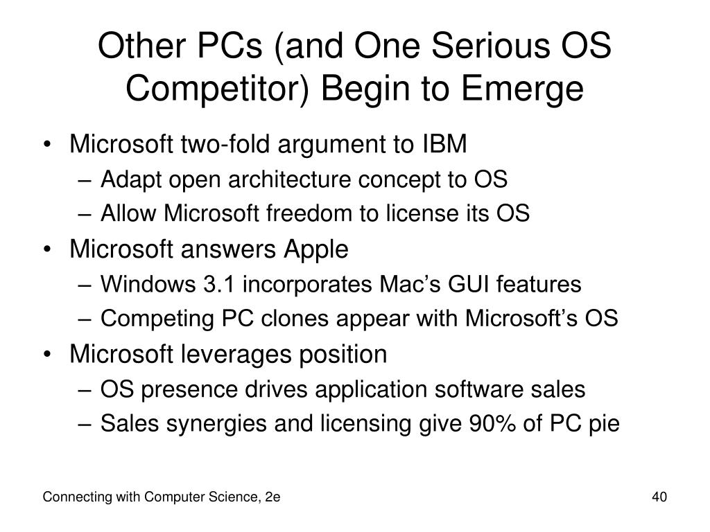 Other PCs (and One Serious OS Competitor) Begin to Emerge