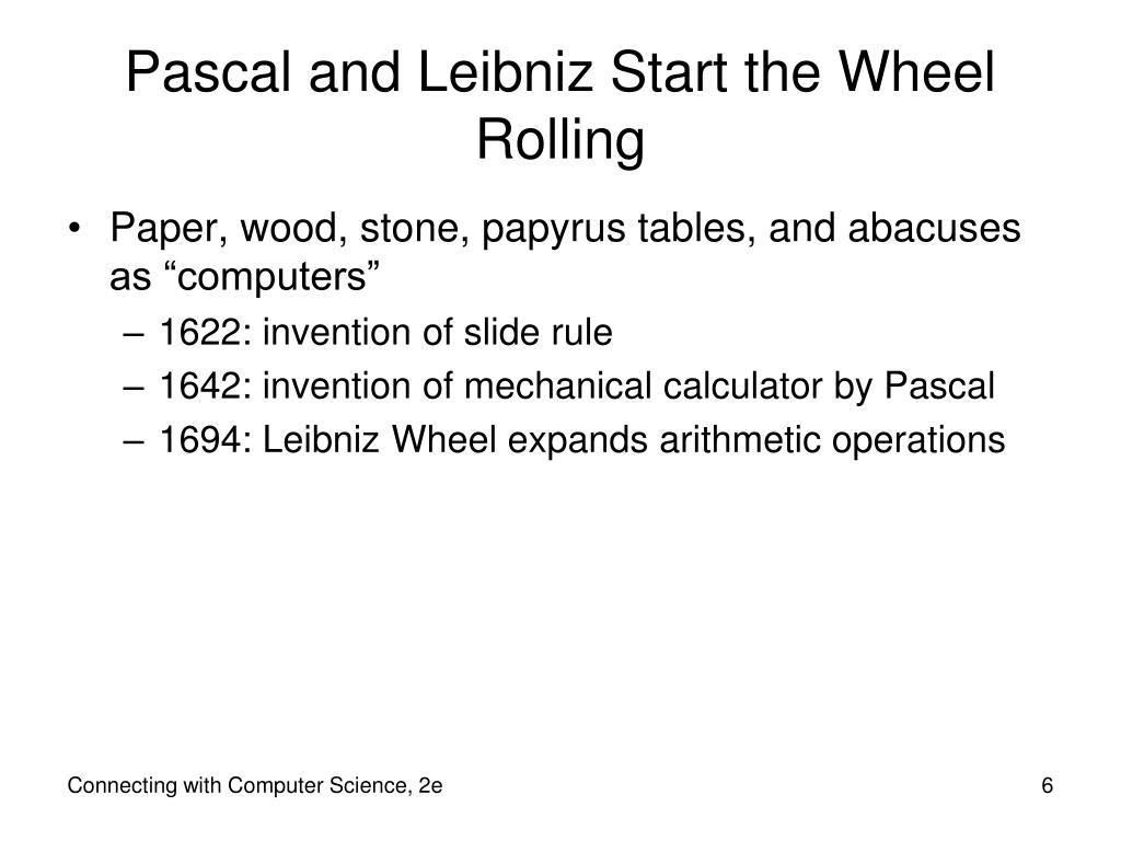 Pascal and Leibniz Start the Wheel Rolling