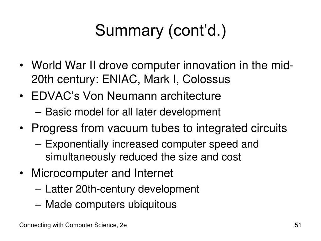Summary (cont'd.)