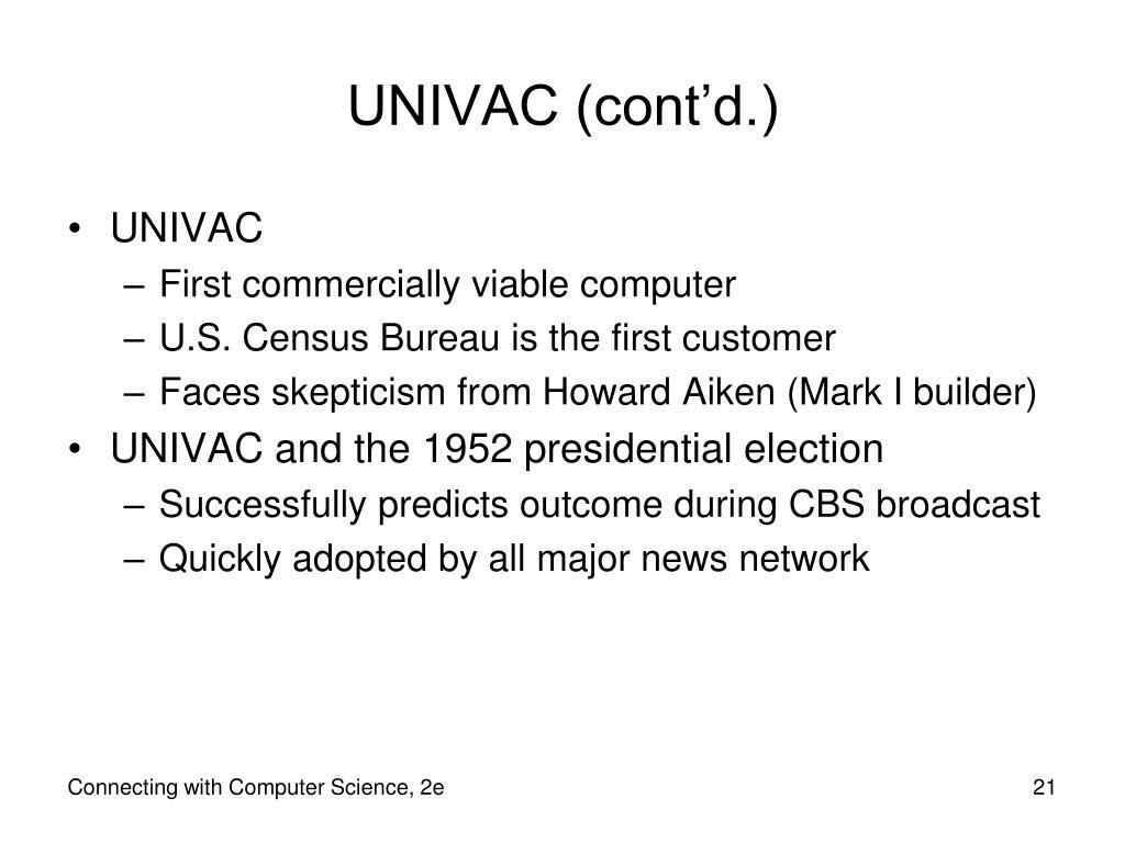 UNIVAC (cont'd.)