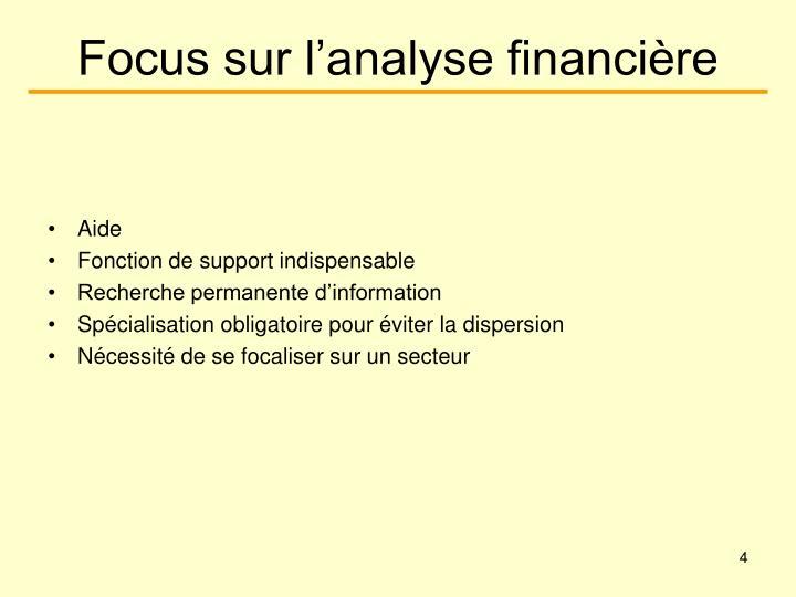 Focus sur l'analyse financière