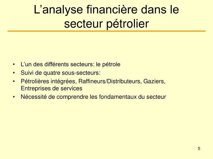 L'analyse financière dans le secteur pétrolier