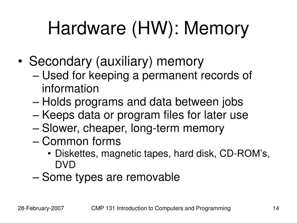 Hardware (HW): Memory