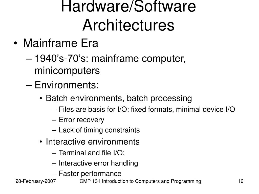 Hardware/Software Architectures