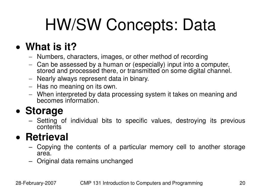 HW/SW Concepts: Data