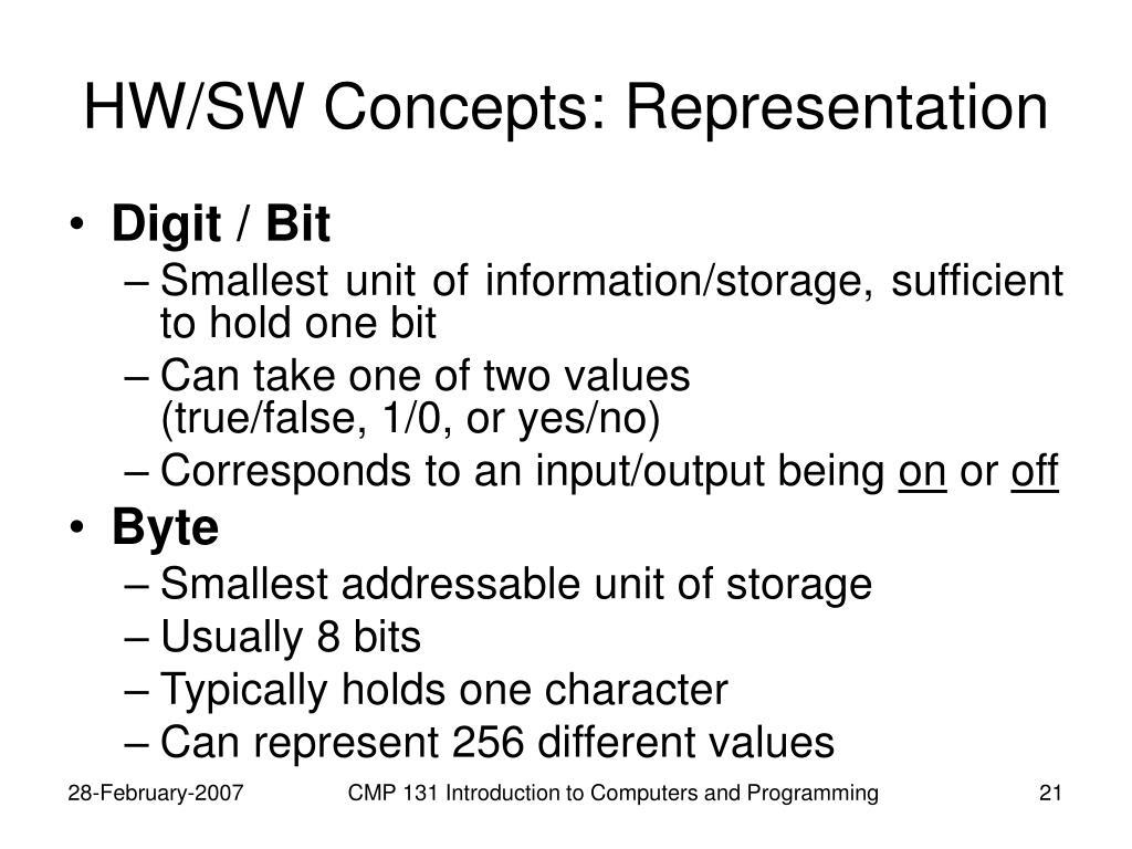 HW/SW Concepts: Representation