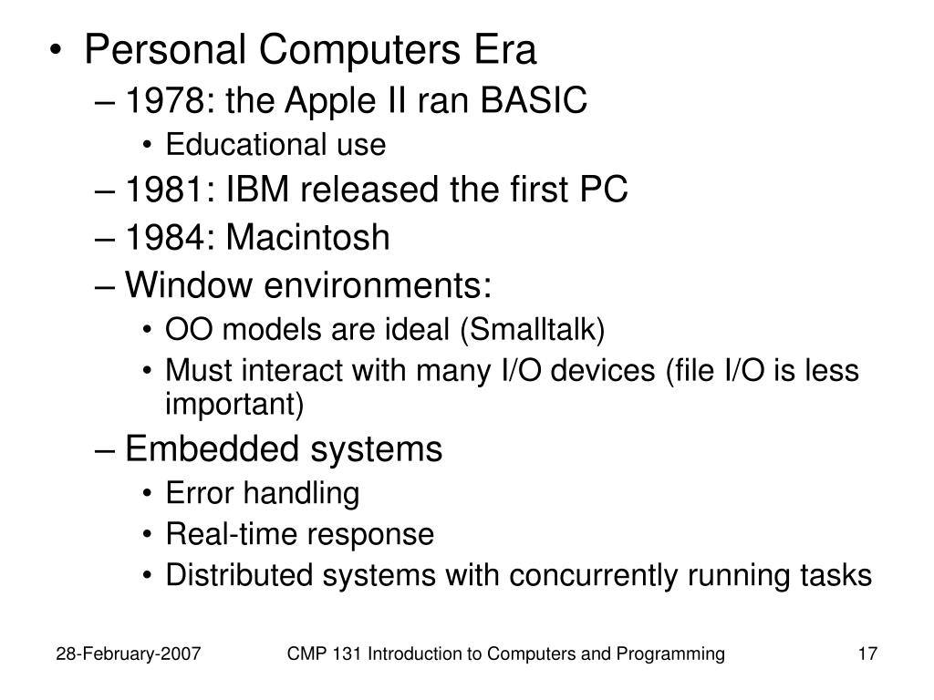 Personal Computers Era