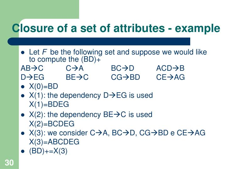 Closure of a set of attributes - example
